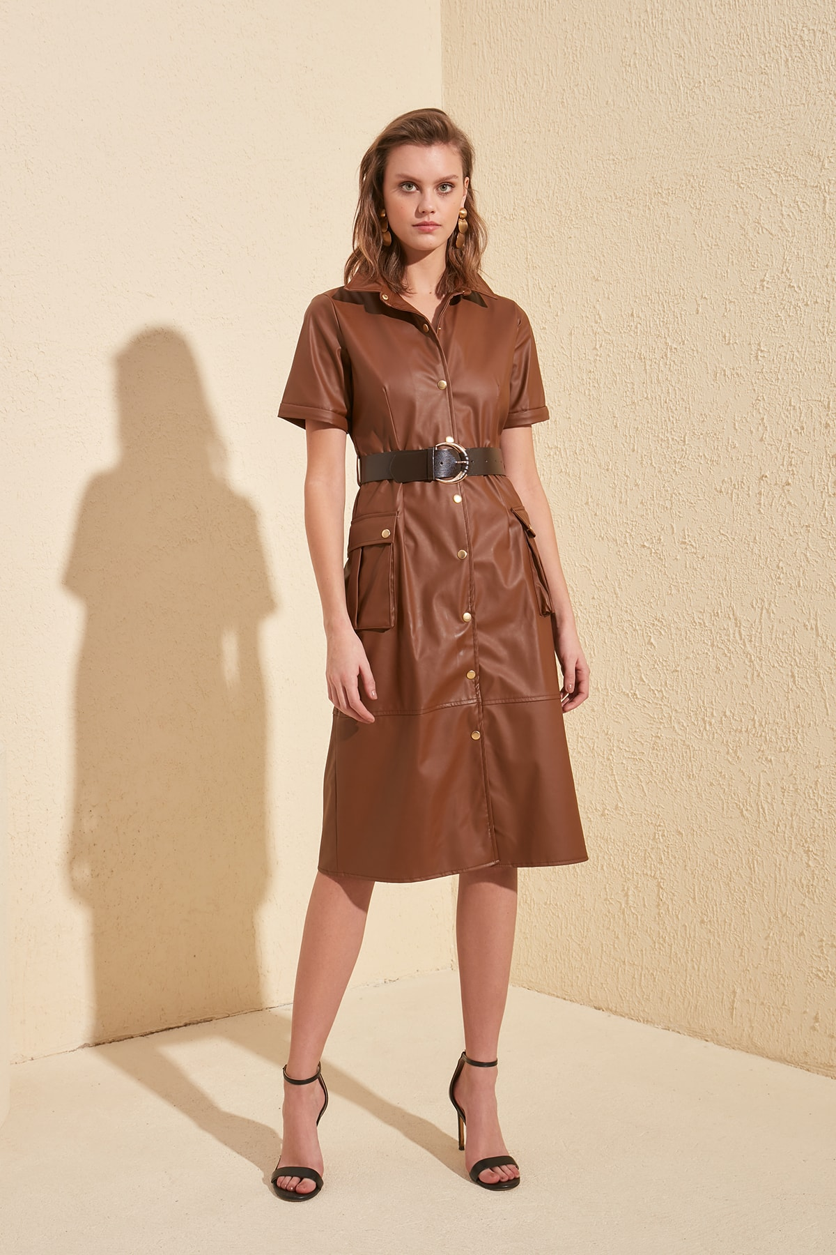 Trendyol Leather Looking Arched Dress TWOSS20EL1351