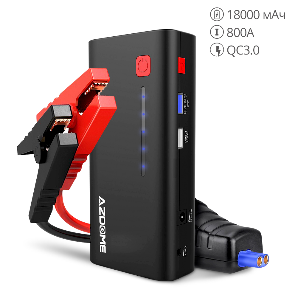 AZDOME Starting Device XT01 800A 18000mAh (6.5L Gas Or 5.5L Diesel Engine) Power Bank Quick Charge LED Flashlight Jump Starter