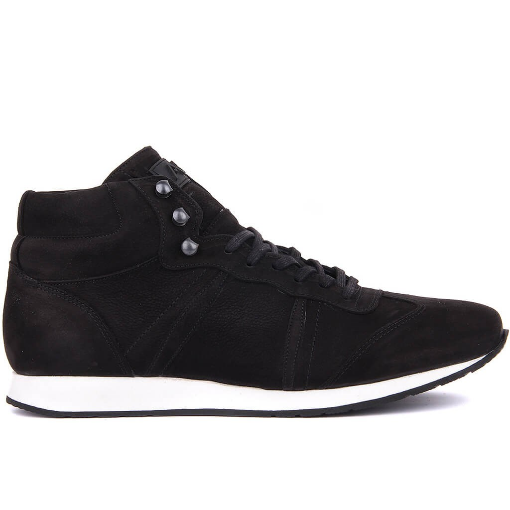 Sail-Lakers Black Nubuck Lace-Up Men Casual Shoes