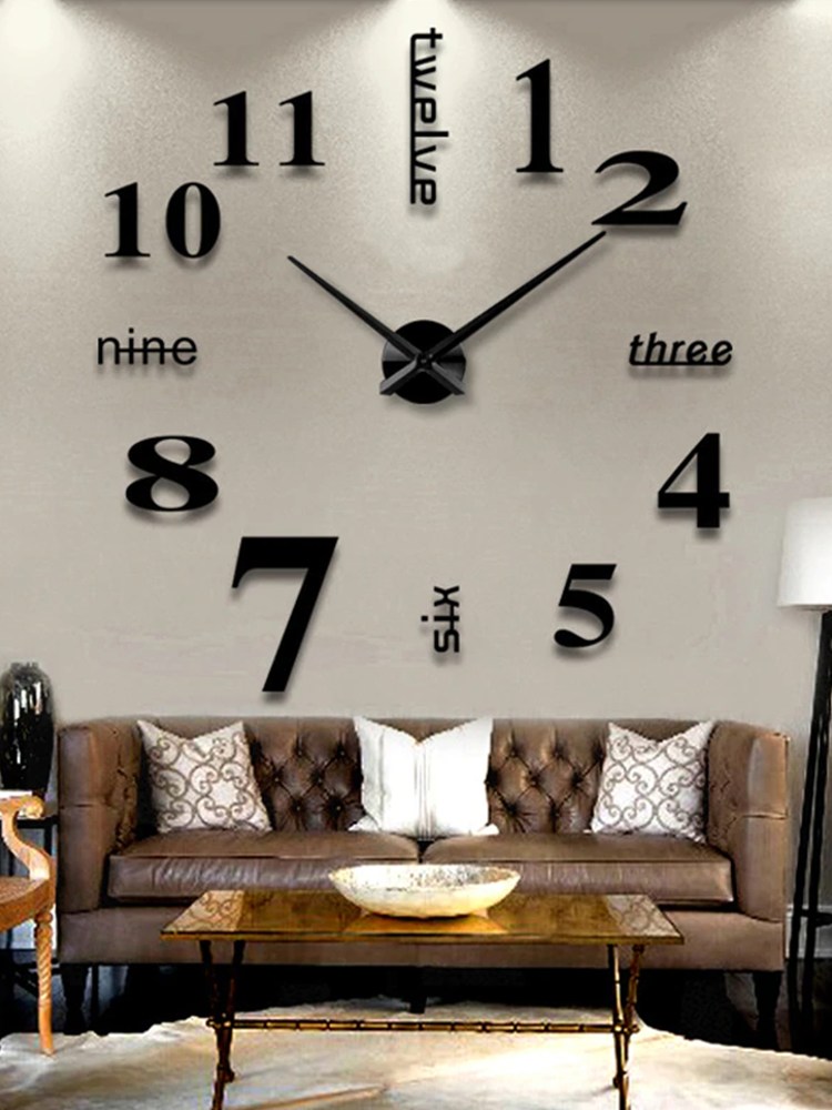 Wall-Clock Mirror Art-Decal Quartz-Needle Self-Adhesive Home-Decor Living-Room 3D 4-Color