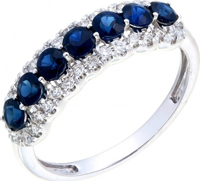 Sargon Jewelry White Gold Sapphire Diamond Ring