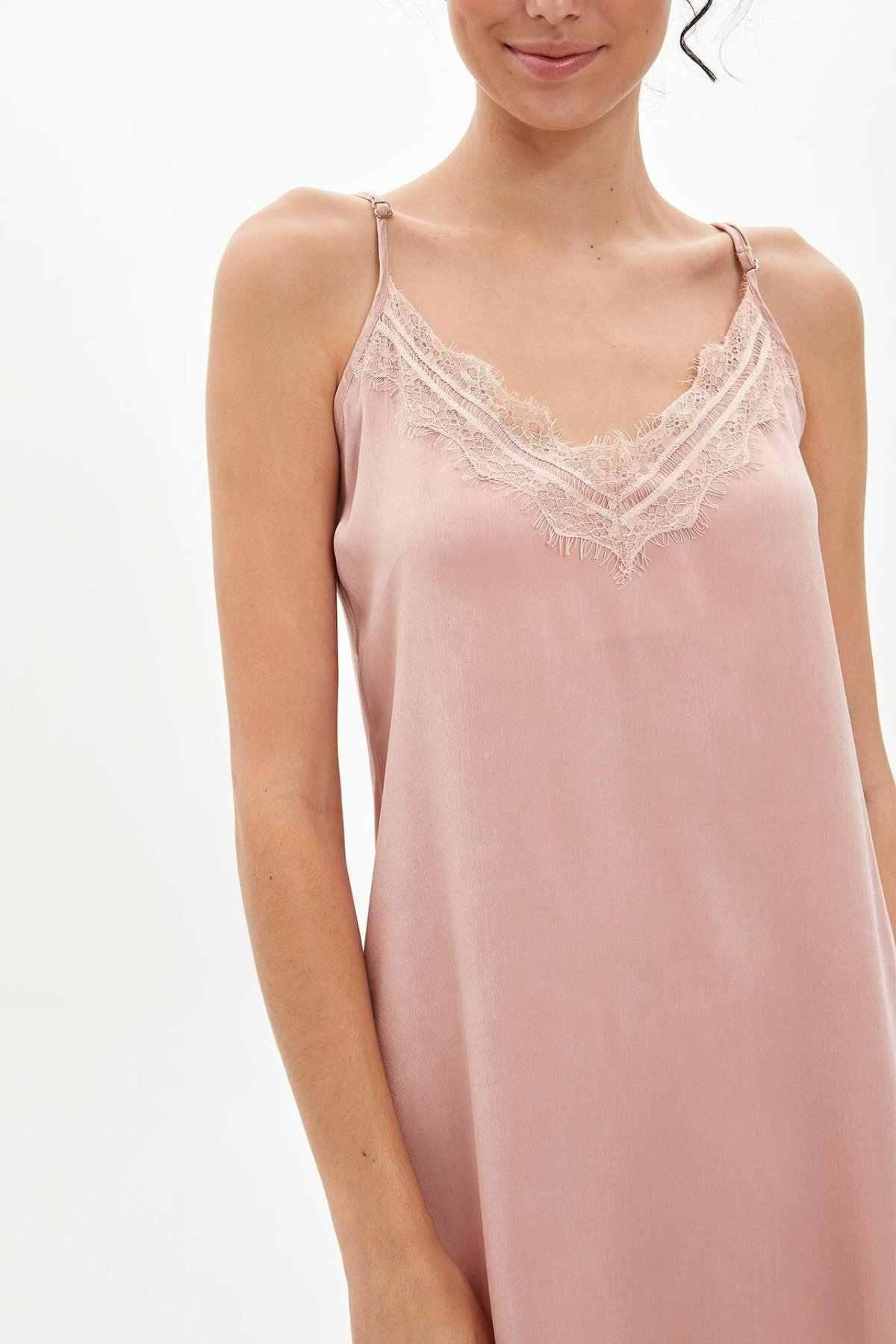 Moda de hecho de encaje ropa de casa con cuello en V señoras Sexy Sling mujer tejido noche pijamas femenino Rosa pijamas comodidad verano-M5455AZ19AU