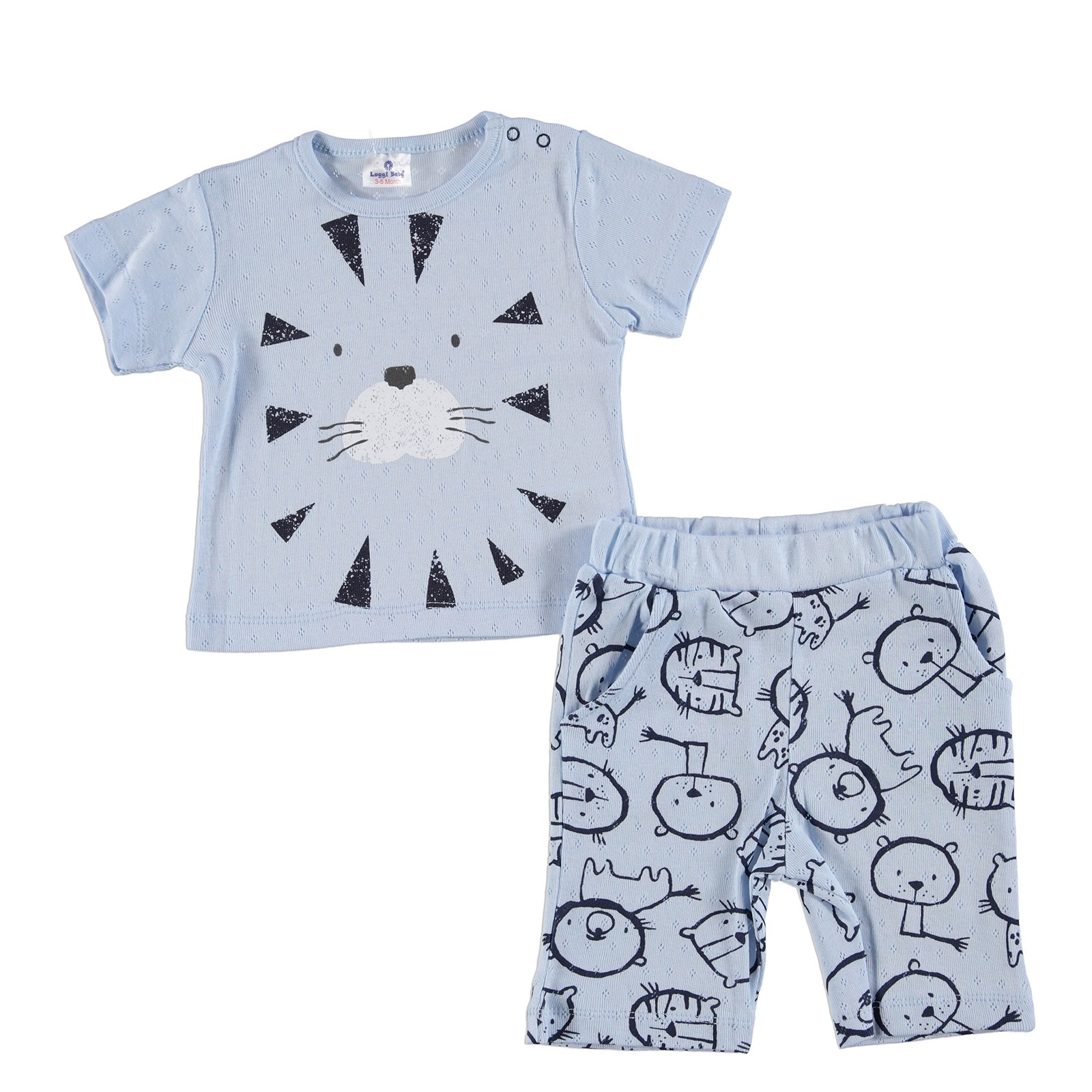 Ebebek Luggi Lion Baby Boy Tshirt Short Set