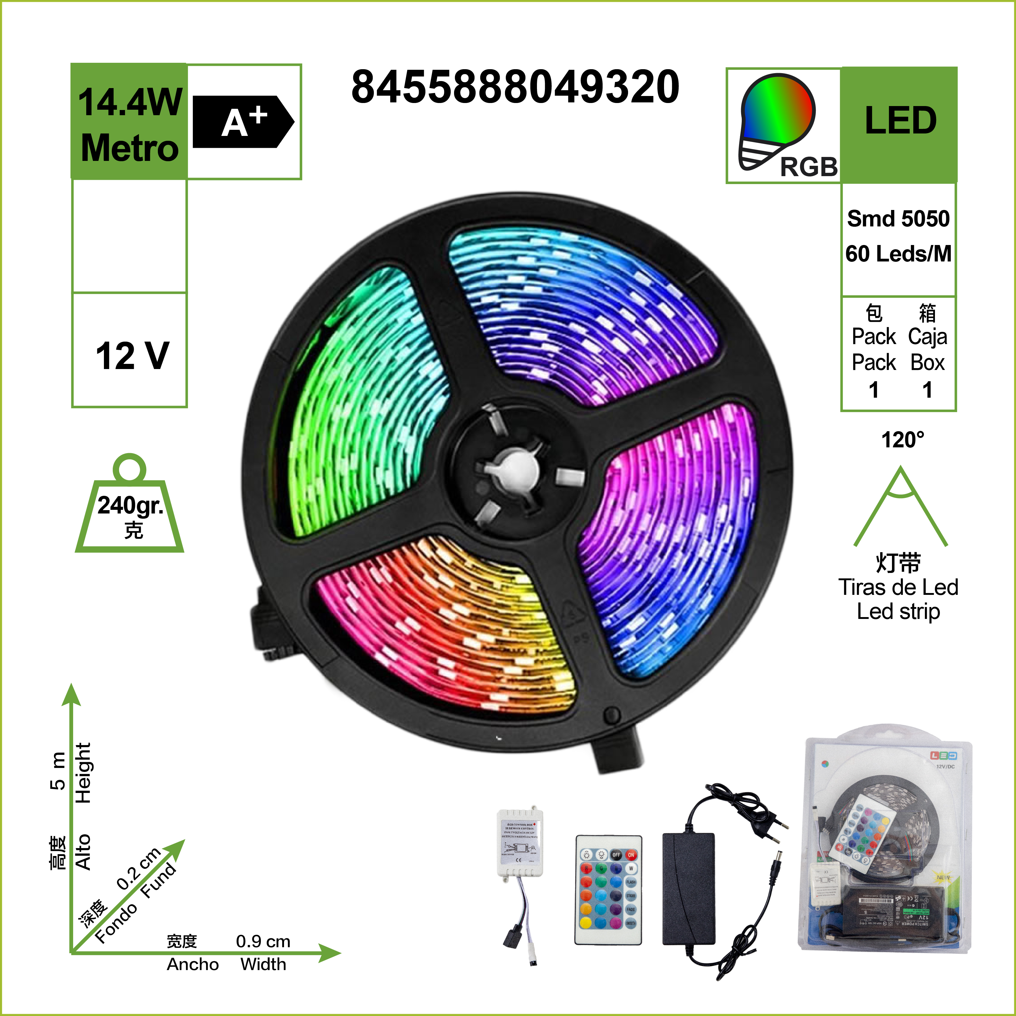LE LED strip, Luces RGB, 12V 5m 60 LED SMD lights 5050, 72W 648 Lm non waterproof