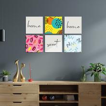 Home Sweet Home malarstwo ścienne kolorowe 6 sztuka Trend i akcesoria do dekoracji domu tanie tanio Meşgalem TR (pochodzenie) Europa Plac Drewno drewniane Optional