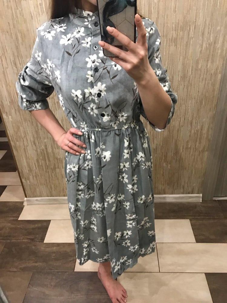 Corduroy Butterfly Sleeve Print Mid Long Dress Women Vintage Elastic Waist Dresses Multicolor Female Fashion Floral Dress photo review