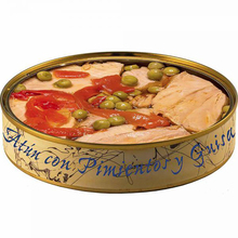 Canned tuna fillet with peppers and peas in olive oil 280 grams | Canned fish El Ronqueo | Gourmet