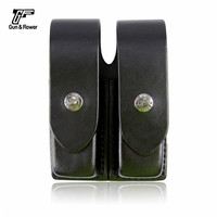 Gunflower Tactical Black OWB Leather Double Mag Pouch Top Flap Magazine Holster with Belt Loop