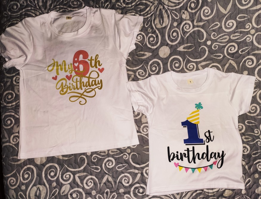 New Kids Boys Girls Summer Birthday T-shirts Short Sleeved T Shirt Size 1 2 3 4 5 6 7 8 9 Year Children Party Clothing Tees Tops photo review