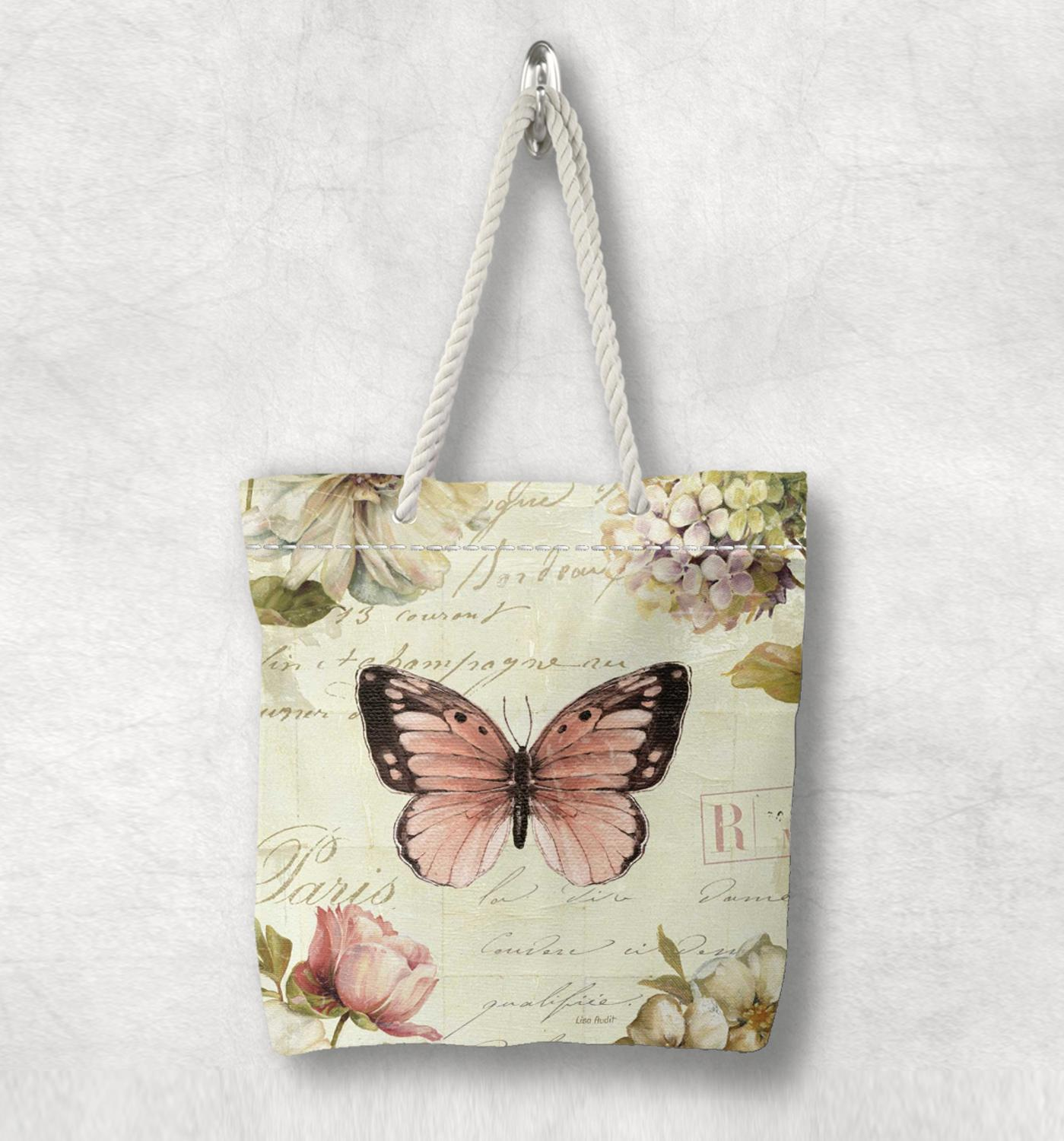 Else Vintage Pnk Butterfly Flowers Floral New Fashion White Rope Handle Canvas Bag Cotton Canvas Zippered Tote Bag Shoulder Bag