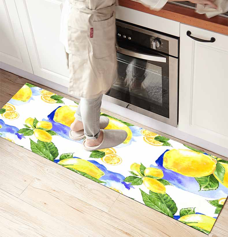 Else Yellow Lemons Green Leaves 3d Print Non Slip Microfiber Kitchen Counter Modern Decorative Washable Area Rug Mat