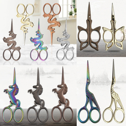 1PCS Durable Stainless Steel Vintage Classic Embroidery Scissors Unicorn Scissors Stork Crane Bird Scissors Cutters Styling Tool
