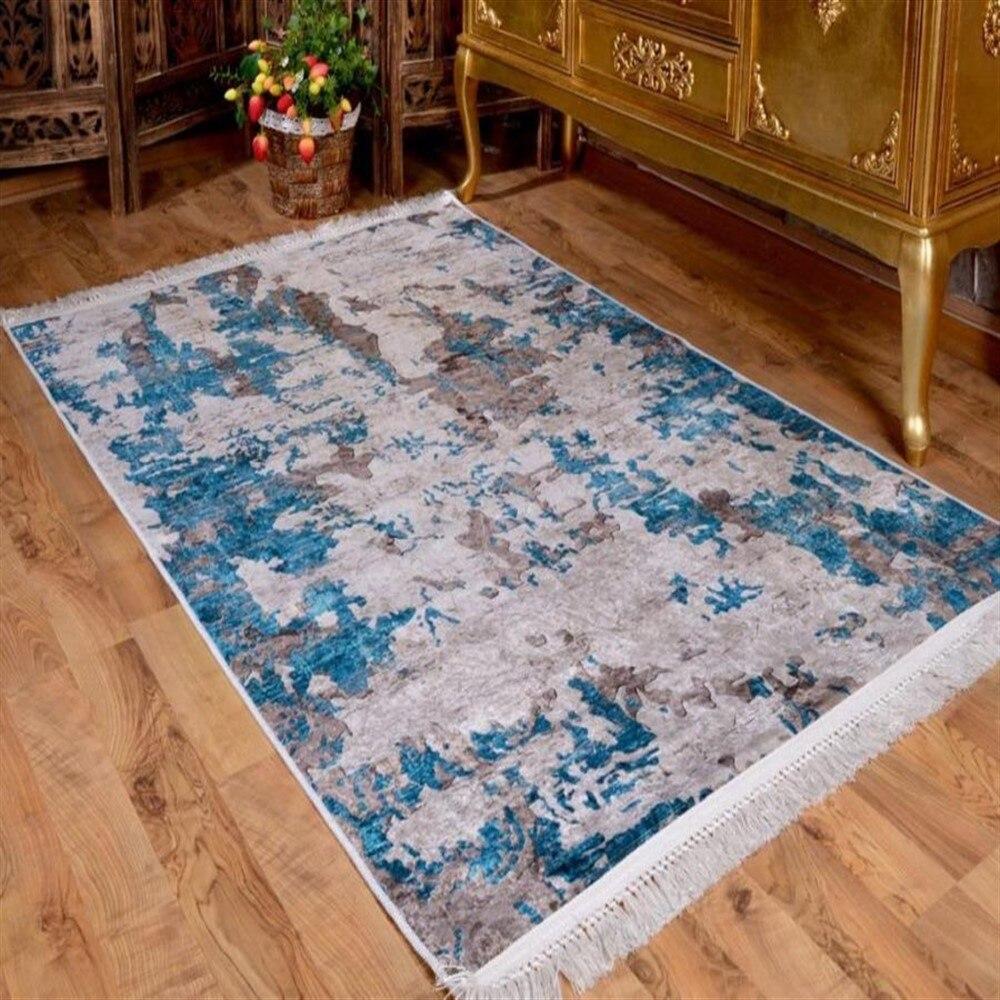 Tapis antidérapant velours bleu-gris tapis turc qualité antibactérien soyeux douceur zone salon cuisine salle de bain chambre