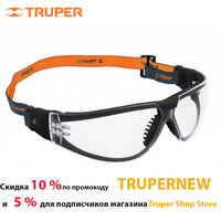 Safety glasses Truper 15304 Protective glasses transparent, polycarbonate, UV protection, protection against scratches, elastic rubber band