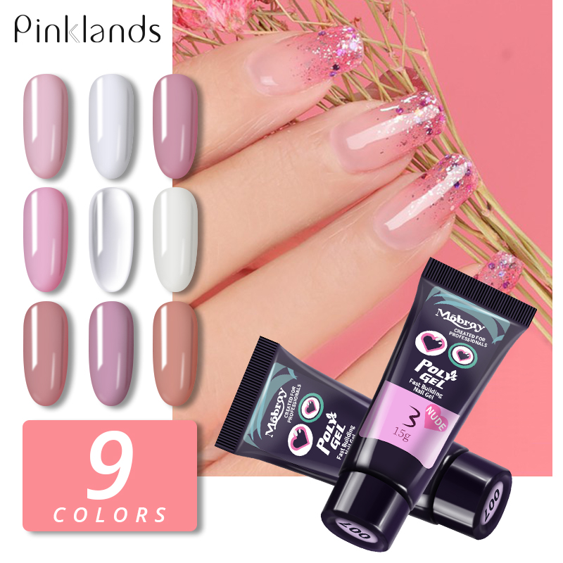 15ml 9 colors Finger Extension Gel Builder Polygel Acryl Gel Poly Clear Pink UV Gel Quick Building Nail Camouflage LED Hard Gel in Nail Gel from Beauty Health
