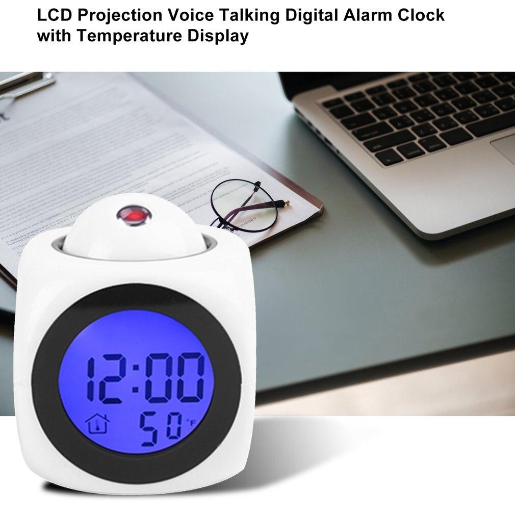 Wekker Digitale Lcd Projectie Glow Klok Desktop Backlight Decor Klok Voice Control Snooze Functie Elektronische Tafel Cloc
