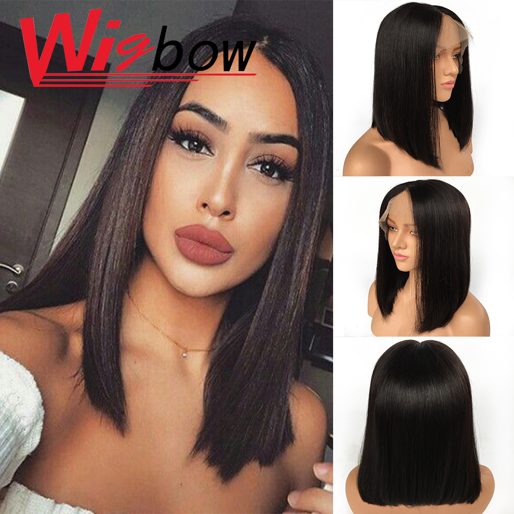 Lace Front Human Hair Wigs Straight Pre Plucked Hairline Baby Hair 14 Inch For Women Human Hair Lace Front Wigs Peruvian Remy