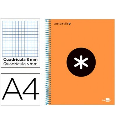 SPIRAL NOTEBOOK LEADERPAPER A4 MICRO ANTARTIK LINED TOP 120H 100 GR CUADRO5MM 5 BANDS 4 HOLES ORANGE FLULU