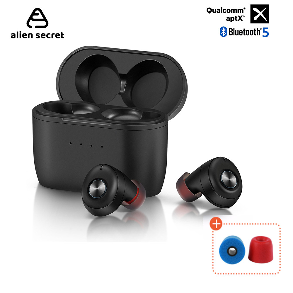 Alien Secret QCC010 TWS Bluetooth 5.0 Earphones Qualcomm aptX Wireless Earbuds Noise Cancellation with Microphones,77H Playtime