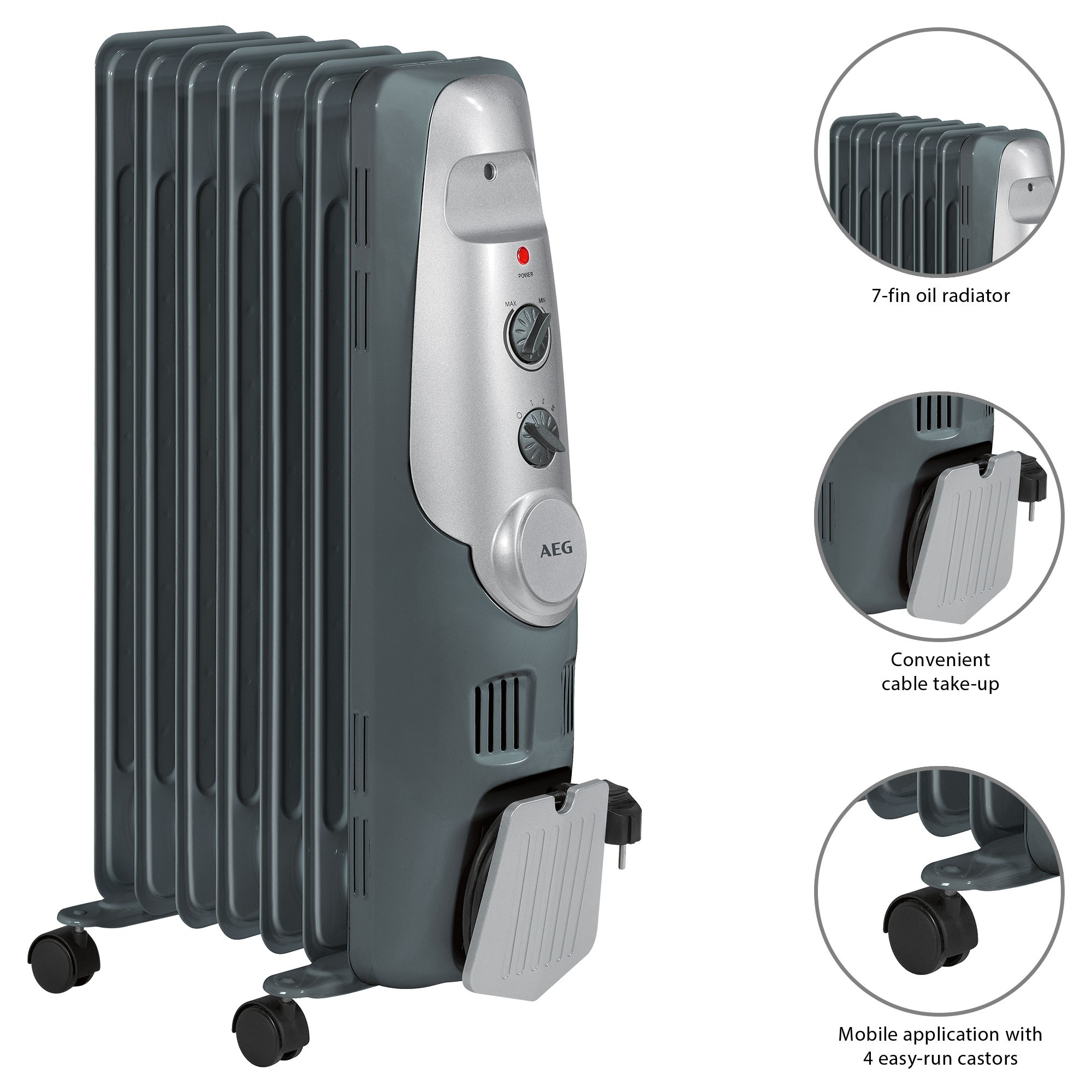 AEG RA 5520 Oil Cooler 1500W 7 Elements Thermostat 3 Tiers Power Regulatory Power For A Low Consumption