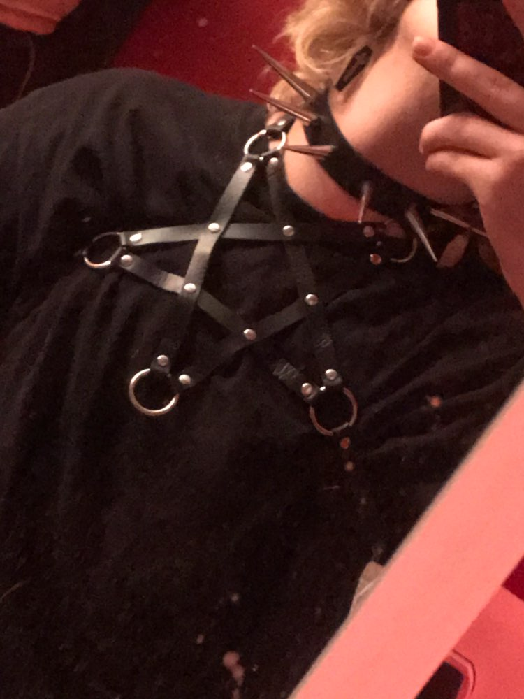 Pentagram shape Leather Body Harness photo review
