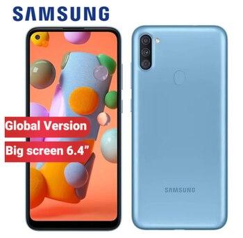 Перейти на Алиэкспресс и купить Смартфон Globla Samsung Galaxy A11 мобильный телефон 32 Гб ПЗУ 2 Гб ОЗУ A115F/DS 6,4 дюйма 4000 мАч Тройная Основная камера 13 МП Android 10