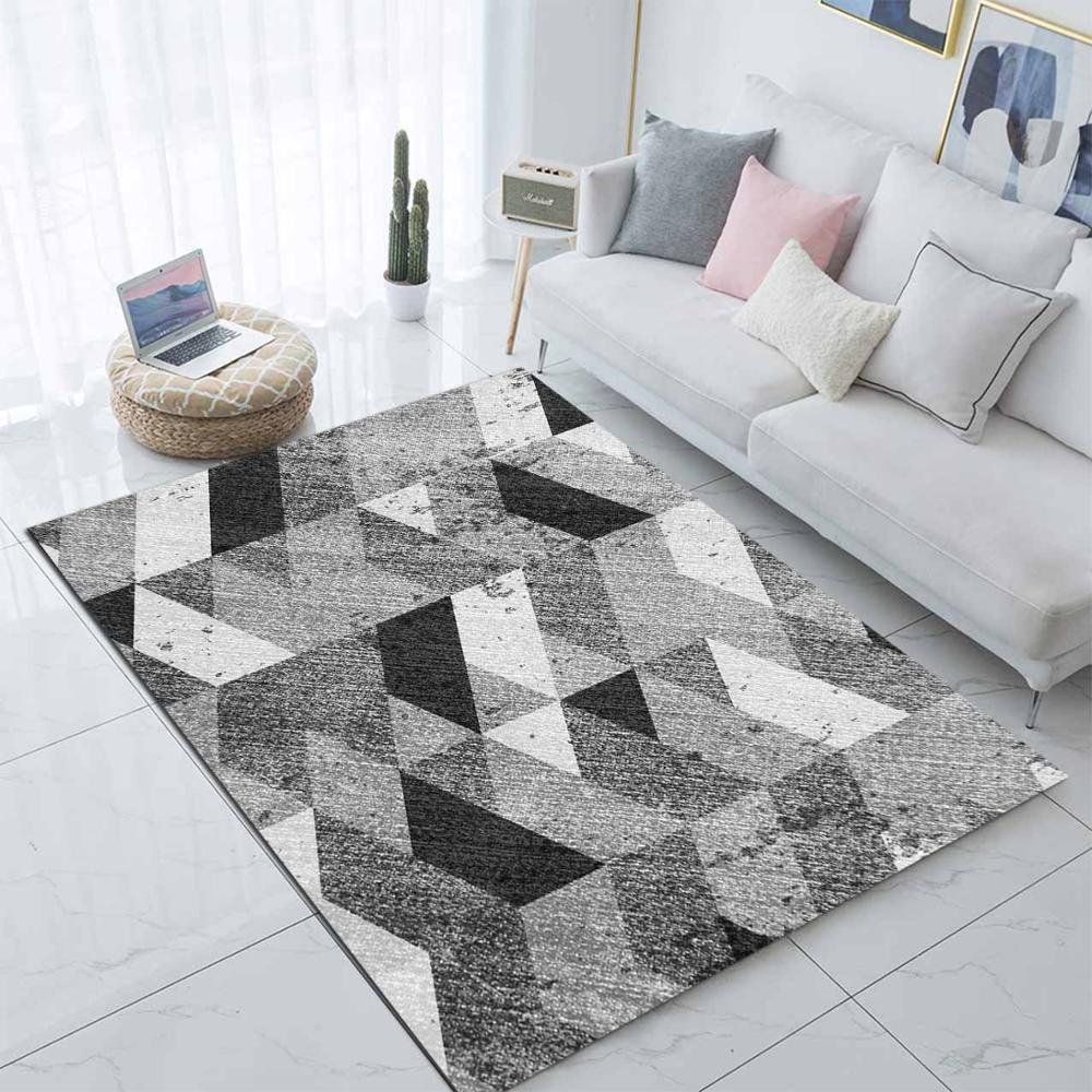 Else Black White Gray Boxes Nordec Design 3d Print Non Slip Microfiber Living Room Decorative Modern Washable Area Rug Mat
