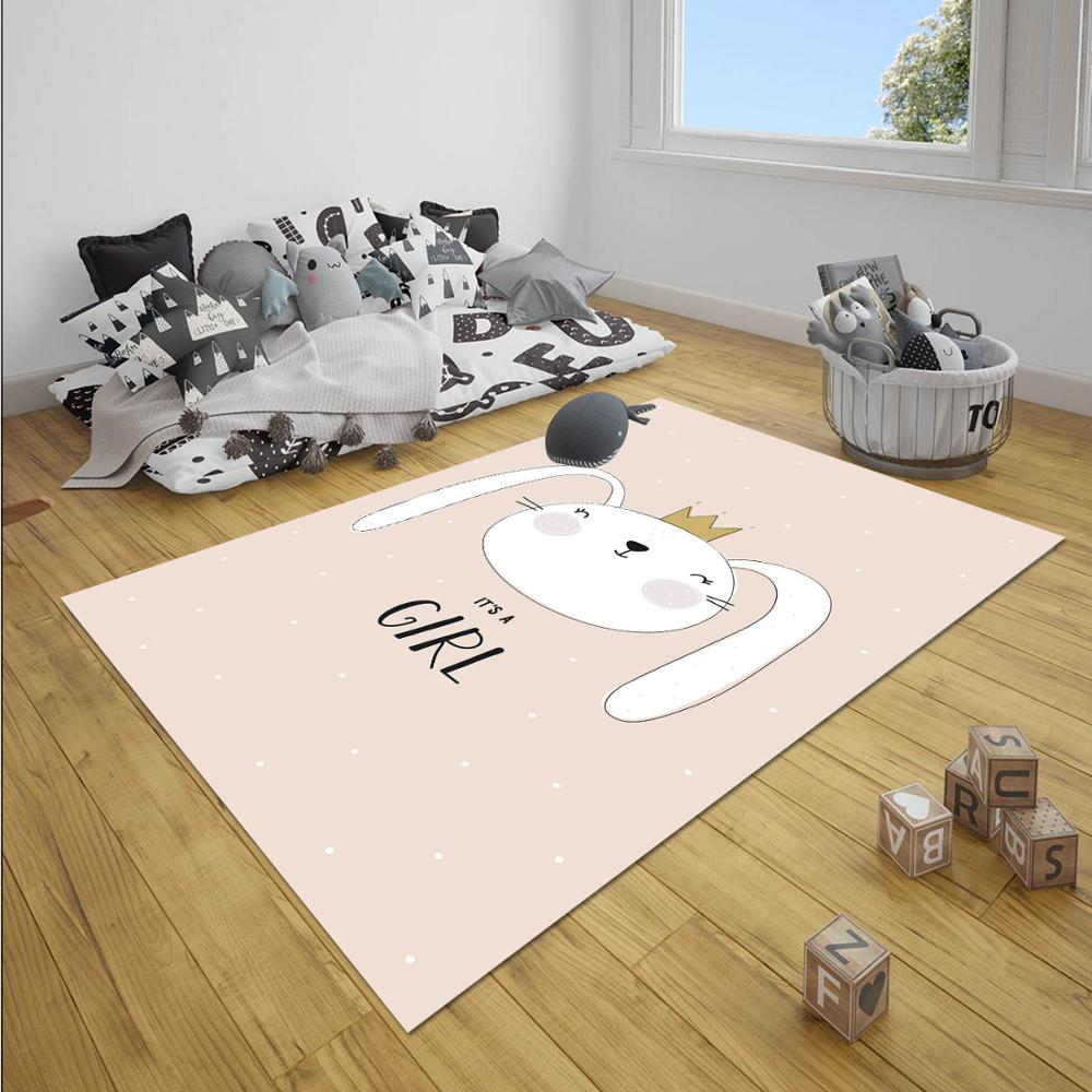 Else Pink Princess Bunny Rabbit Girl Nordec Girls 3d Print Non Slip Microfiber Children Baby Kids Room Decorative Area Rug Mat