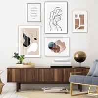 ملصقات مجسمة هندسية تجريدية على شكل إسكندنافيا لوحات قماشية بسيطة صور جدارية لتزيين غرفة المعيشة