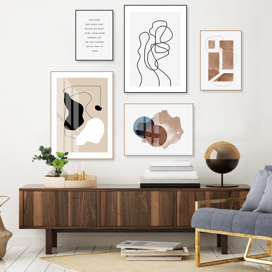 Scandinavia Abstract Geometric Figure Line Posters Prints Minimalist Canvas Painting Wall Art POP Pictures For Living Room Decor