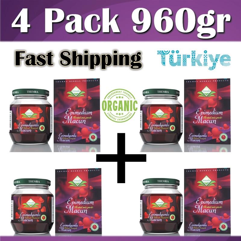 4 pack 240gr Organic Epimedium Themra Turkish Honey Mix Macun Horny Goat Weed Ginseng Herbal Aphrodisiac Turkish Paste Halal Afrodisiak Themra Organics Viagra Performance Men Power-Hot Nights For Womens