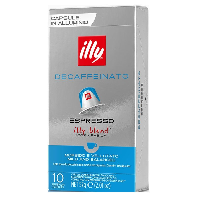 Decaffeinated Illy®10 compatible Nespresso coffee capsules