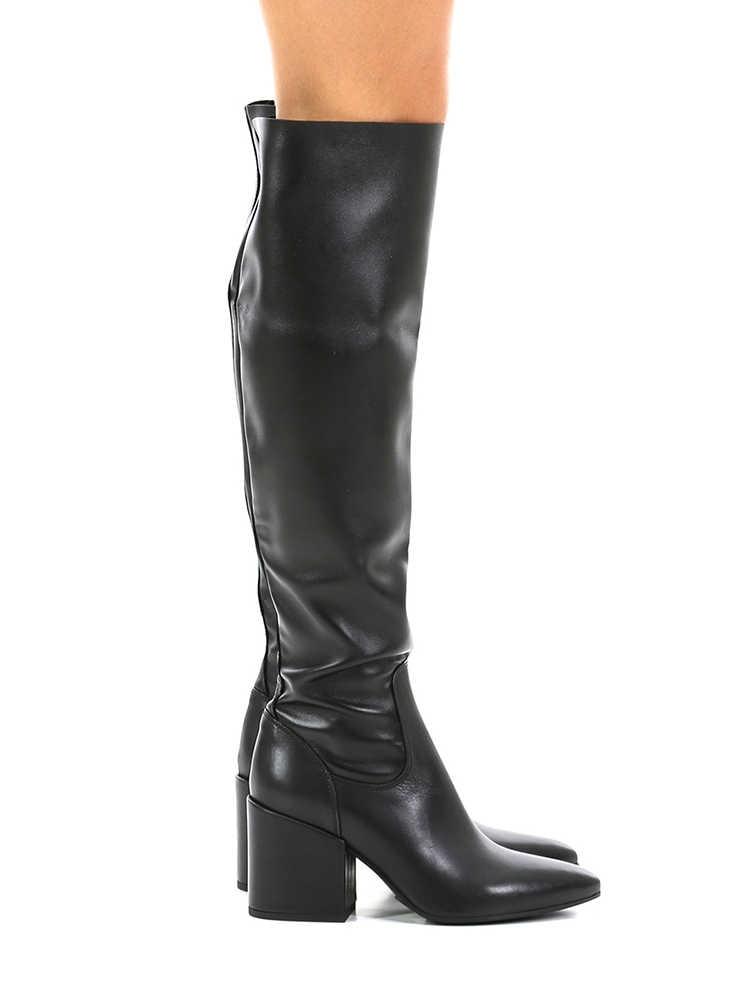 Nero mat deri uyluk yüksek çizmeler tıknaz topuk boyutu 10 kış kadın uzun çizmeler zarif sivri burun ücretsiz kargo ayakkabı rahat