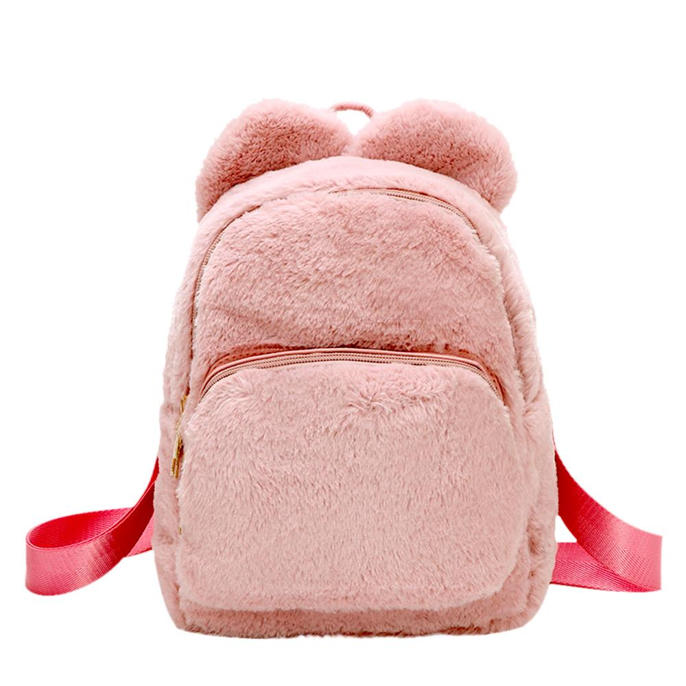 Women Soft Faux Fur Plush Backpack Shoulder Bag Fluffy School Bag Student Lovely Small Schoolbags Travel Shoulder Bag