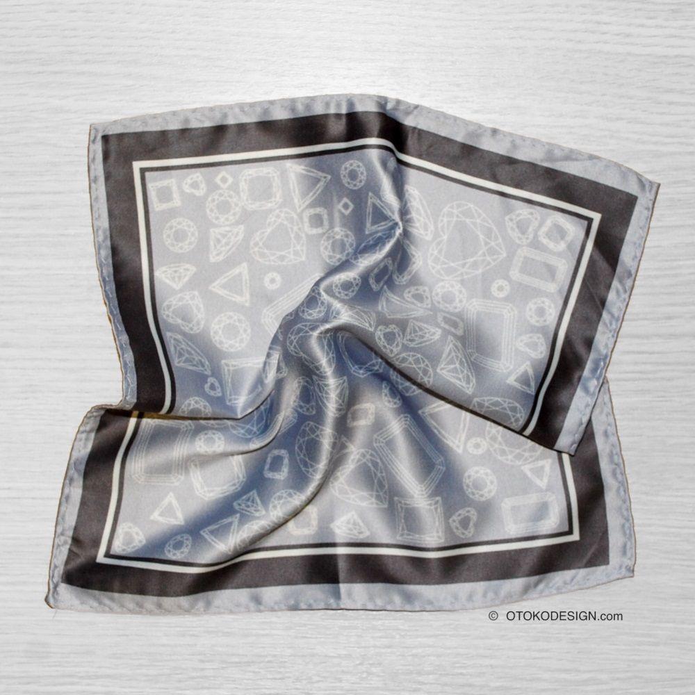 Gray Geometric Pocket Square With Black Edging (52661)