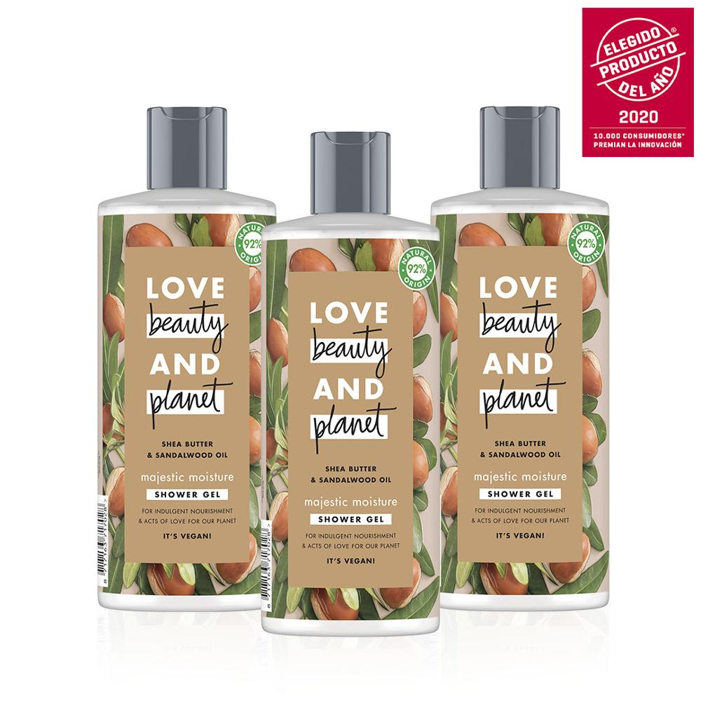 LOVE, BEAUTY AND PLANET Set 3 Gels Shower For Piel Hydrated AND Luminous Vegan Shea Butter AND Sandalwood 100% Recyclable