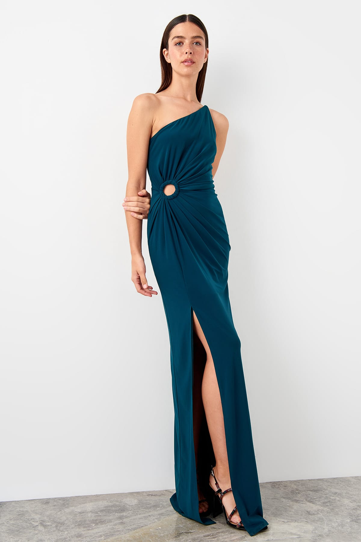 Trendyol Waist Detail Drapeli Evening Dress TPRSS19AE0071