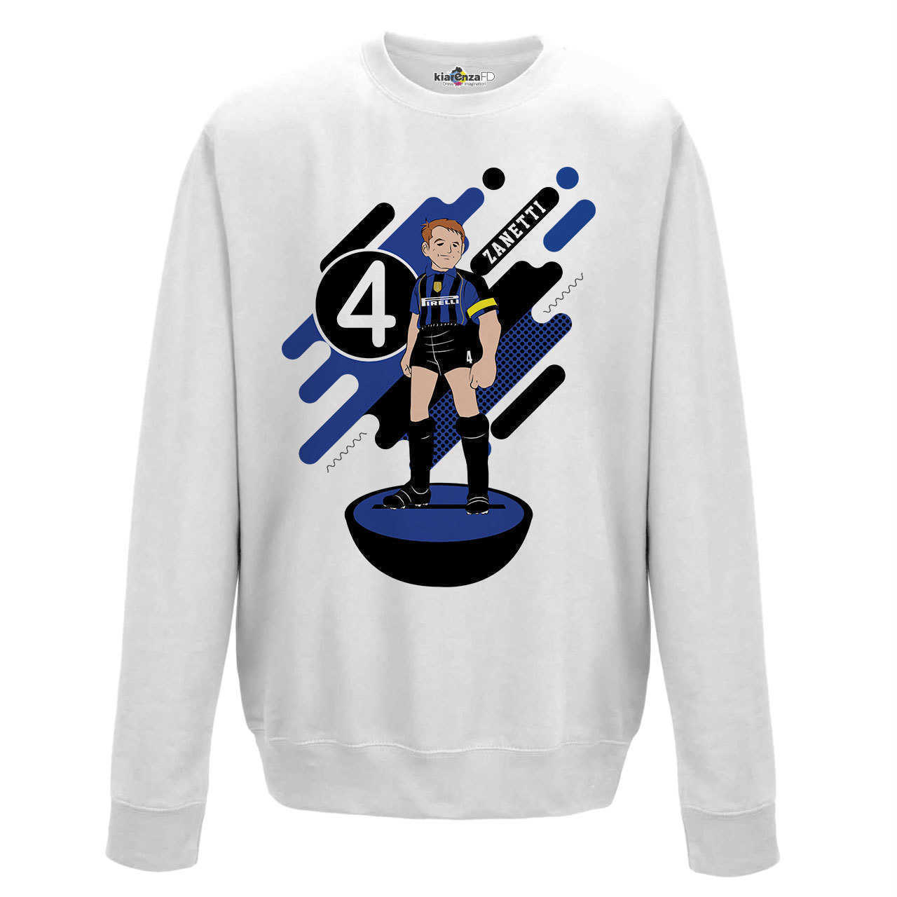 Crewneck Sweatshirt <font><b>Soccer</b></font> Manga Zanetti <font><b>Inter</b></font> <font><b>Milan</b></font> Legend Spoof Subbuteo Holly and Benji S image