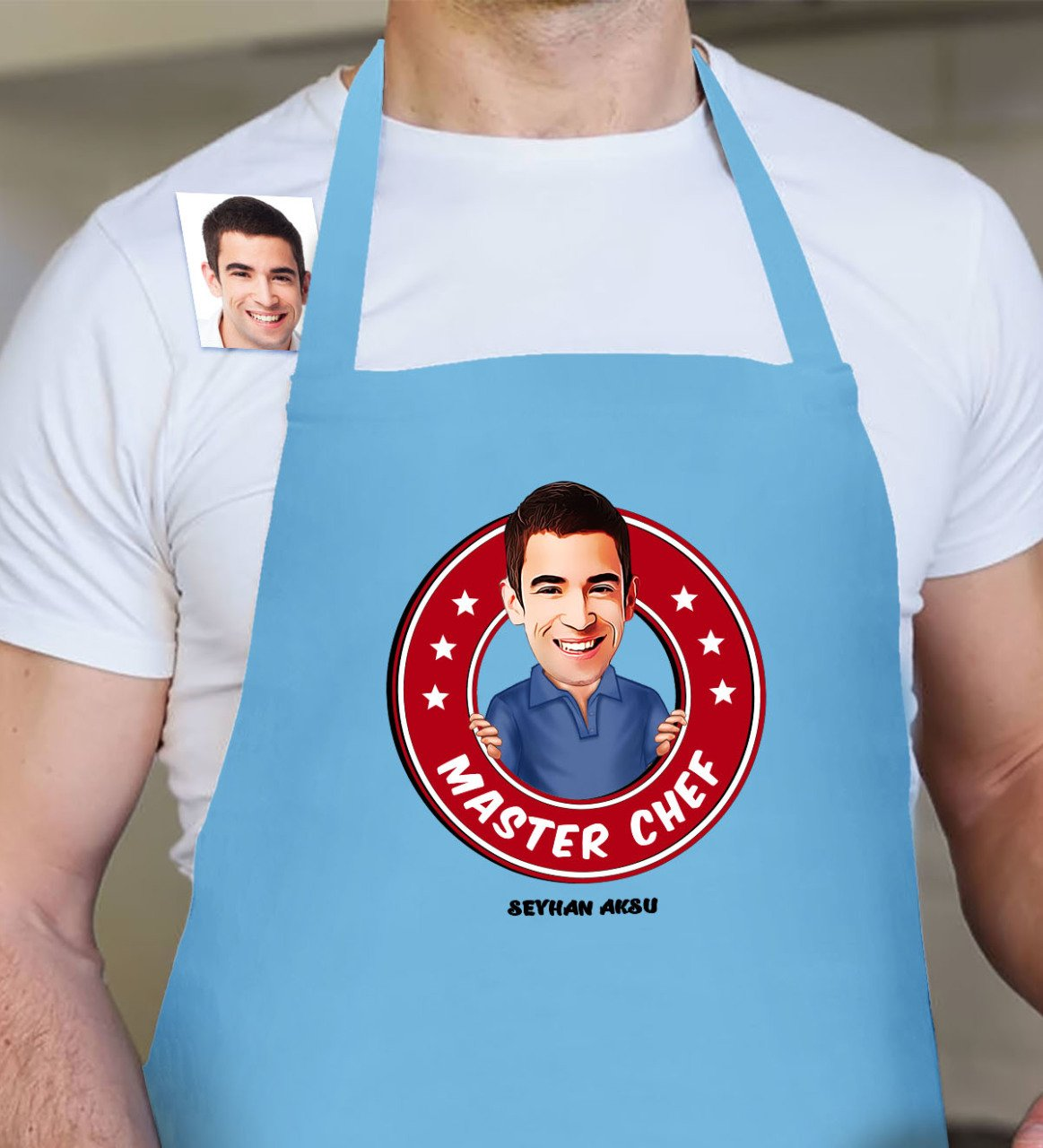 Personalized Mr Master Chef Cartoon Blue Kitchen Apron 4 Gift Bags & Wrapping Supplies     - title=