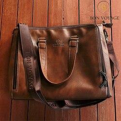 Bolsos de mano de cuero marrón para hombres, bolsos casuales de cuero para portátiles, bolsos de viaje de negocios para hombres, bolso bandolera para hombre, buen viaje