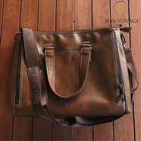 Männer Braun Leder Handtaschen Casual Leder Laptop Taschen Männlichen Geschäfts Reise Taschen herren Umhängetasche Umhängetasche Bon Voyage