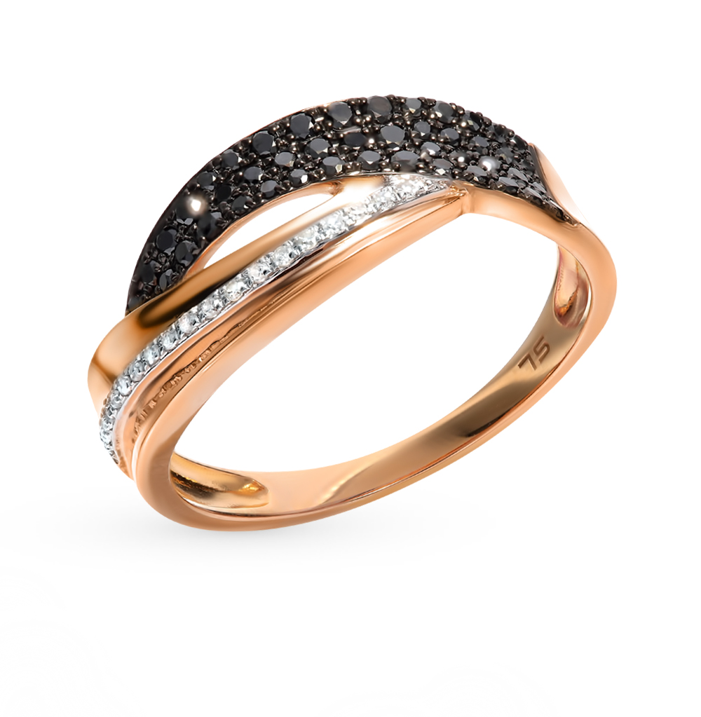 Gold Ring With Black Diamonds Sunlight Sample 585