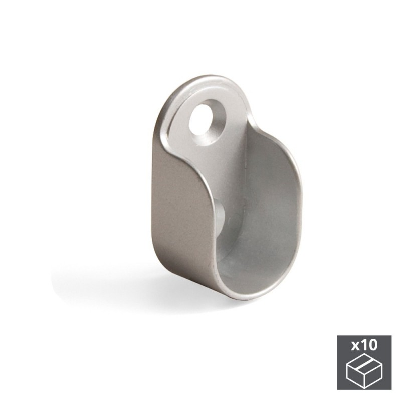Lot of 10 holders Emuca for hanging rod wardrobe in Zamak finish metallic gray|Furniture Accessories| |  - title=