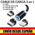 Магнитный зарядный кабель с 3 разъемами в комплекте, microusb, type-C и совместим с Iphone, отправка из Испании