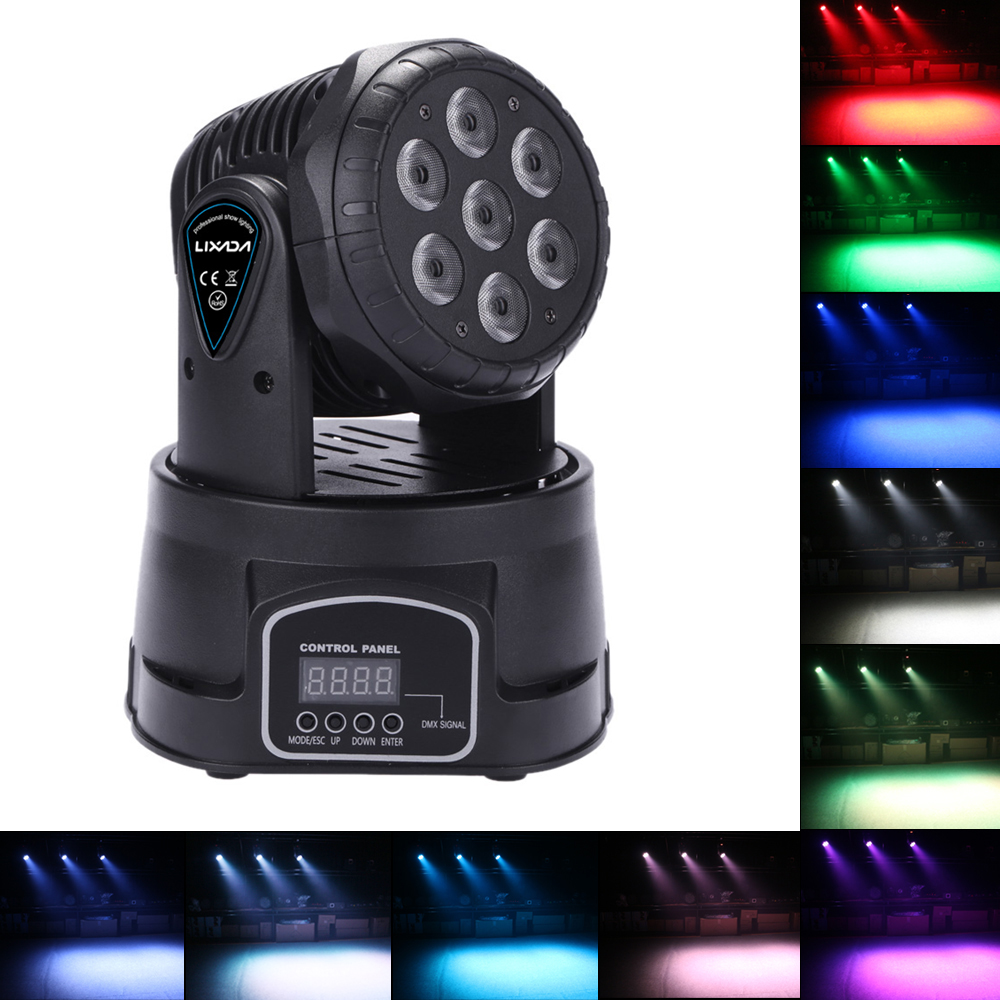 Mini Rotating Moving Head Dj Disco Light 7LED 105W Party Lights RGBW 9/14 Channel DMX512 Stage Light Effect Lamp For DJ Show