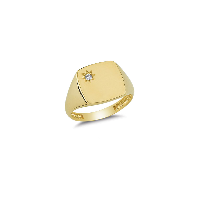 14K Solid Gold Square Signet Ring