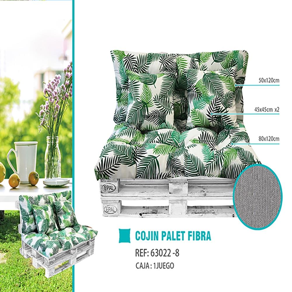 Cojin palets, de fibra. incluye: cojin relleno, cojin de respaldo y cojin de asiento, ideal para patio, jardin,etc