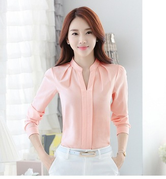 Women Casual Chiffon Blouses Stand V Neck Solid Long Sleeve Office Ladies Tops White Fashion Tee Causal Shirts 2020 Work Blouse