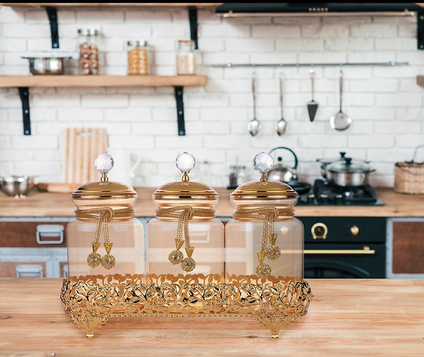 Glass Spice Hurrem Style With Jar Spice Container 3 Pcs/Set Organizer Cans Pepper Shaker Storage Box With Tray Kitchen