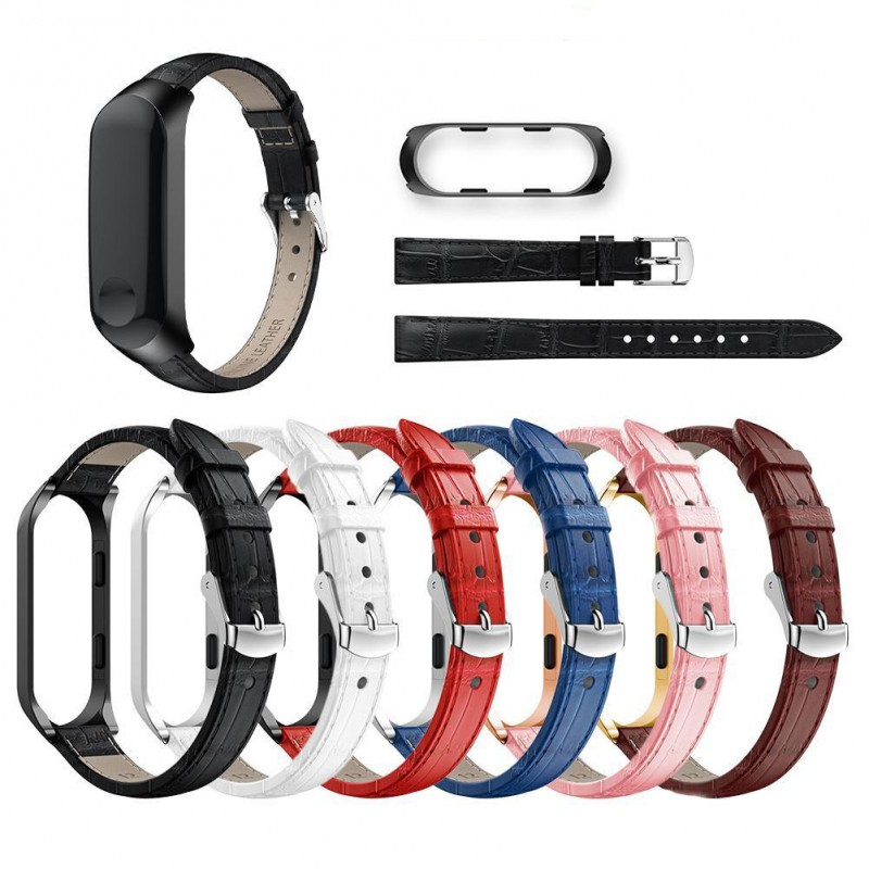 Replacement bracelet Leather and metal for Xiaomi My Band 3/My Band 4|Armbands| |  - title=